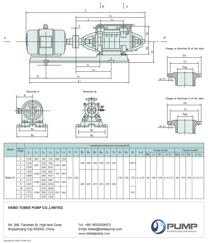 Tobee TDG Bolier Feed Water Pumps Drawing