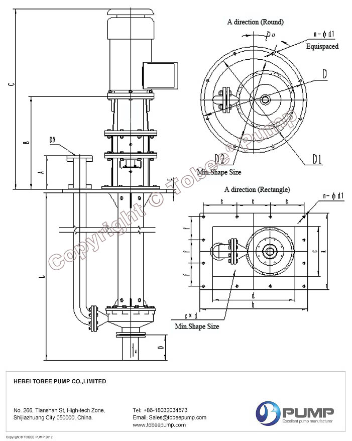 Tobee TY High Temperature Vertical Molten Salt Pumps Drawing
