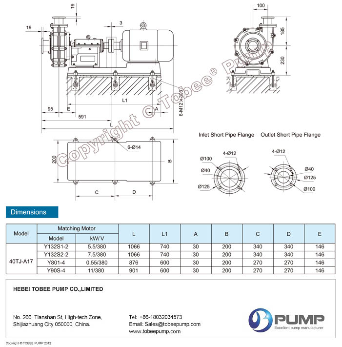 Tobee TJ China Slurry Pumps Dimensional Drawings