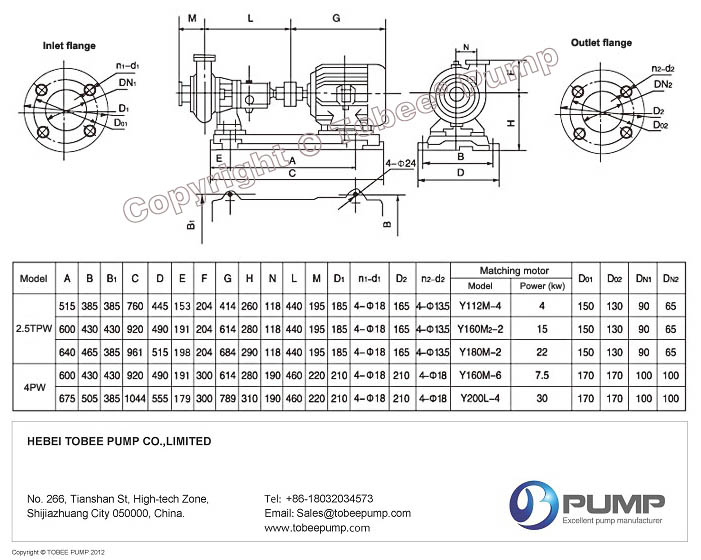 Tobee TPW Horizontal Sewage Pumps Dimensional Drawing