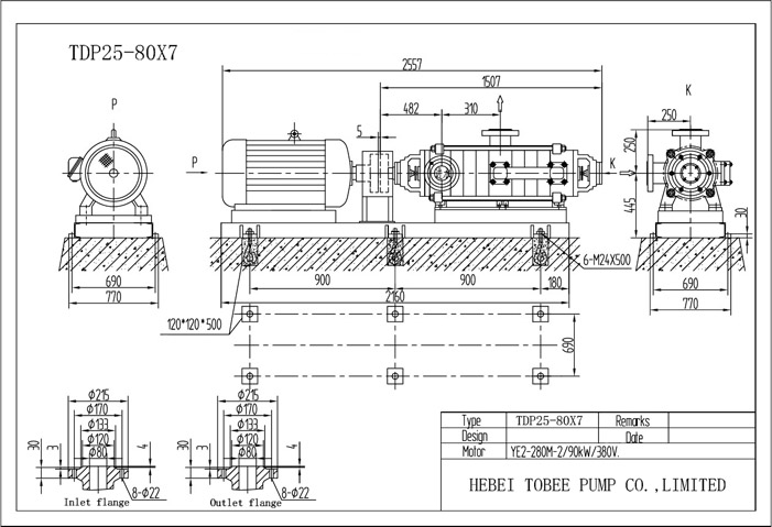 Tobee TDP Self-balancing Multistage Pumps Dimensional Drawing