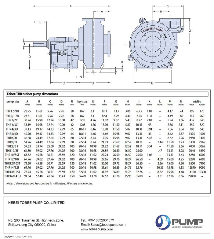 Tobee THR » Warman AHR Rubber Slurry Pumps Dimensional Drawing