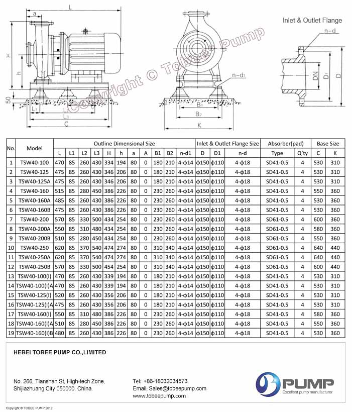 Tobee TSW Horizontal Inline Pumps Dimensional Drawing