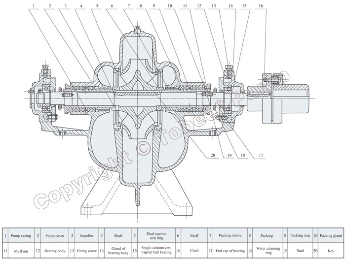 Tobee TSH Large Irrigation Pump Structural Drawing
