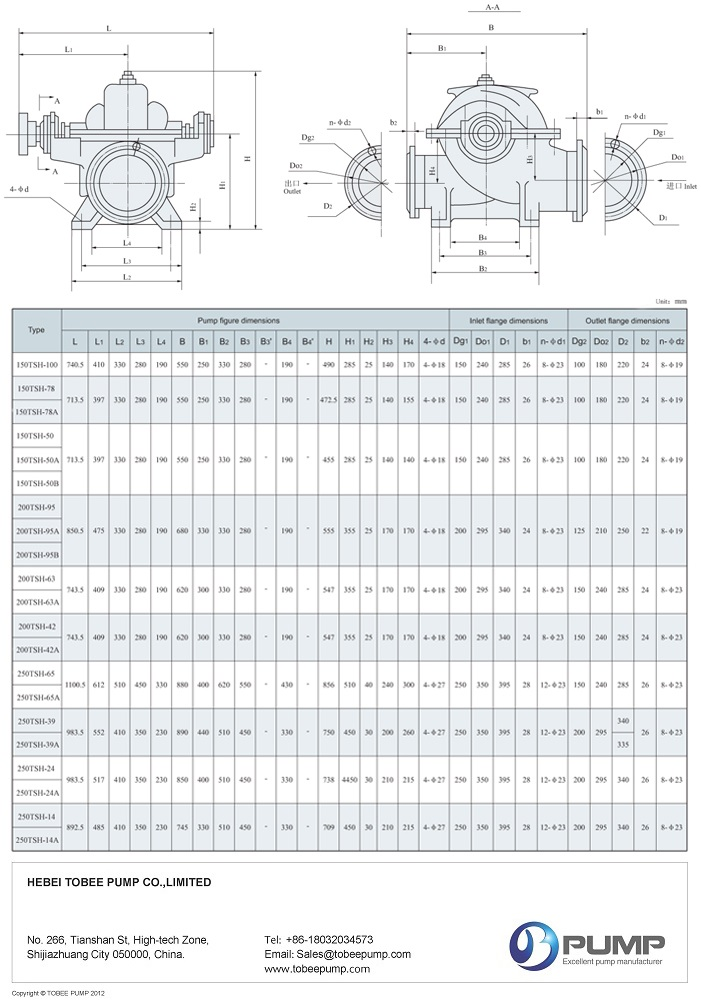 Tobee TSH Large Irrigation Pump Dimensional Drawing