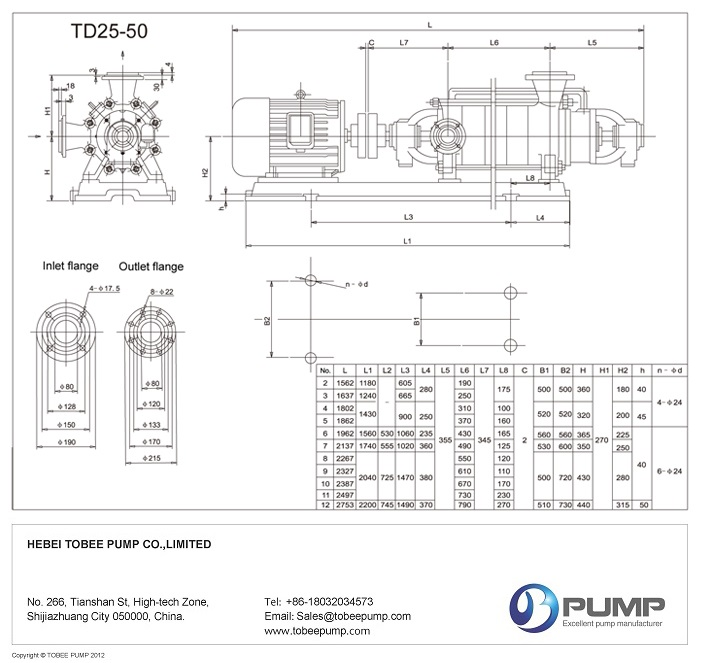 Tobee Multistage Irrigation Pump Dimensional Drawing
