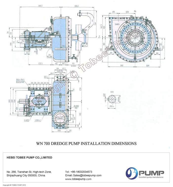 Tobee WN700 Marine Dredge Pump Dimensional Drawing