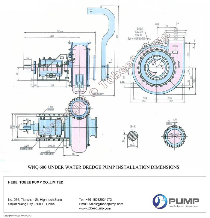 Tobee WND Submerged Dredge Pumps Dimensional Drawing