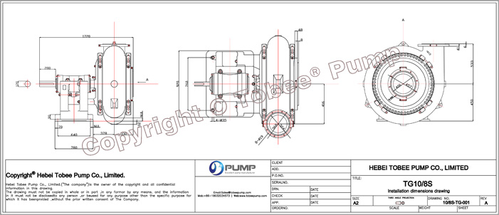 Tobee TG10x8S Dredging Gravel Pump Dimensional Drawing