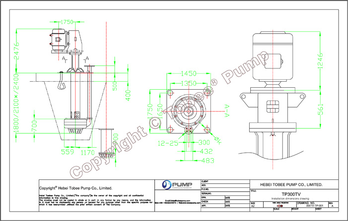 Tobee TP300TV Sump Slurry Pump Dimensional Drawing