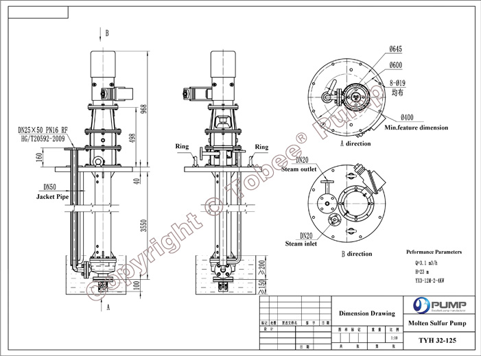 Tobee TYH Vertical Molten Sulfur Pump Dimensional Drawing